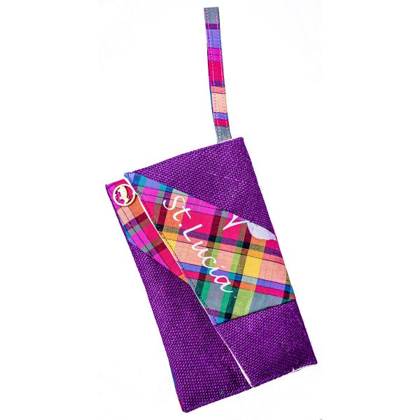 burlap evnvelope purple