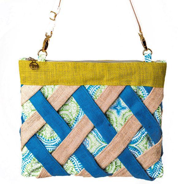 burlap lattice blue