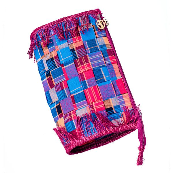 woven clutch blue and burgandy