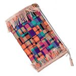 woven clutch orange and natural jute