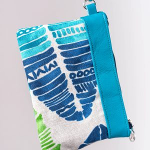 blue tropical print leather wristlet handmade