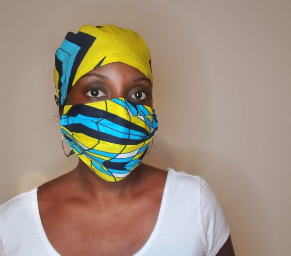 african print scrub cap and mask