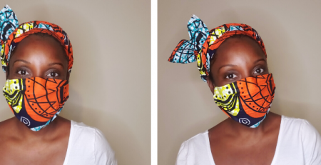 black woman in african print headwrap