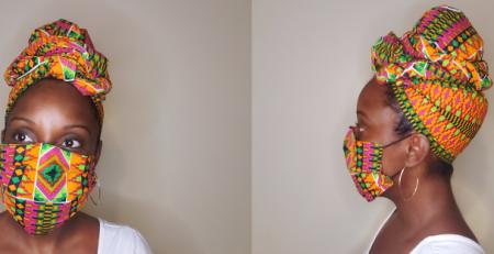 black woman in african print head wrap